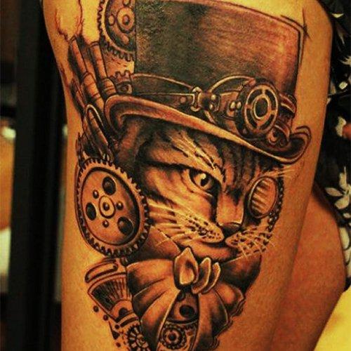 Татуировка кота в цилиндре